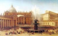 Здания и сооружения: Григорий Чернецов. Площадь Святого Петра в Риме во время папского благословения. 1850