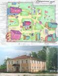 План усадьбы и деревянный дом музея Верещагиных